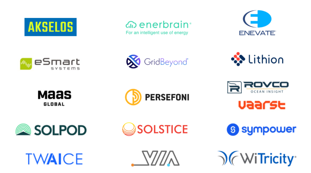 2021 ENECHANGE Insight Ventures first cohort logos: Akselos, Enerbrain, Enevate, eSmart Systems, GridBeyond, Lithion Recycling, MaaS Global, Persefoni, Rovco & Vaarst, Solpod, Solstice, Sympower, TWAICE, VIA, WiTricity